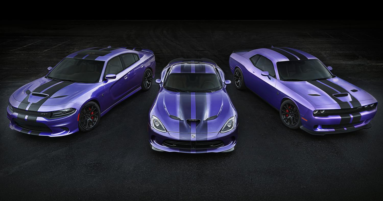 2016 Challenger and Charger SRT Hellcat Models Earn Exclusive Stripes, Dodge Extends Plum Crazy ...